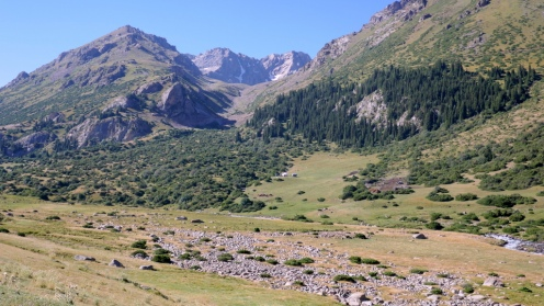 Widok z doliny Besh-Tash na podjazd na przełęcz Terek